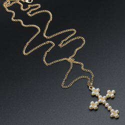 Faux Pearl Cross Sweater Chain Necklace -