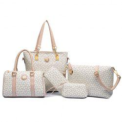 Geometric Tote Handbag 5Pc Set