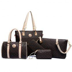 Geometric Tote Handbag 5Pc Set - COFFEE