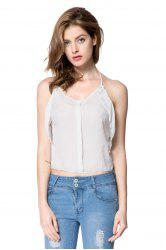 Stylish Spaghetti Strap Solid Color Chiffon Tank Top For Women
