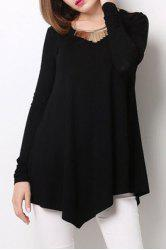 Stylish Scoop Neck Long Sleeve Black Loose-Fitting T-Shirt For Women