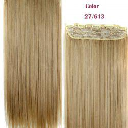 Trendy 23 Inch Long Straight Clip-In Heat Resistant Synthetic Hair Extension For Women - 27/613#