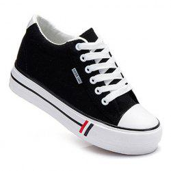 Preppy Style Lace-Up and Round Toe Design Women's Canvas Shoes - BLACK