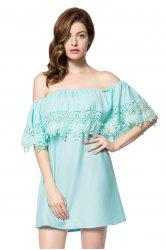Stylish Bateau Neck Off The Shoulder Lace Splicing Short Sleeve Dress For Women
