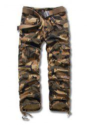 Camouflage Style Straight Leg Loose Fit Multi-Pocket Lacing Cuffs Zipper Fly Men's Plus Size Cargo Pants - EARTHY
