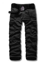 Loose Fit Straight Leg Multi-Pocket Suture Design Zipper Fly Plus Size Men's Cargo Pants - BLACK