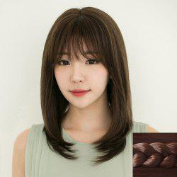 Stylish Full Bang Ladylike Long Natural Straight Synthetic Capless Wig For Women -