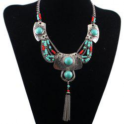 Ethnic Turquoise Tassel Necklace For Women -
