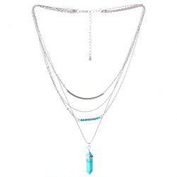 Vintage Faux Turquoise Layered Pendant Necklace - SILVER