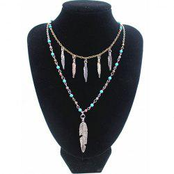 Retro Ellipse Turquoise Leaf Feather Necklace For Women -