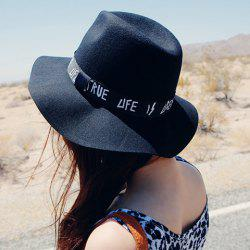 Chic Letters Pattern Strap Embellished Felt Bucket Hat For Women - BLACK