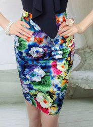 Stylish Floral Print High-Waisted Bodycon Skirt For Women -