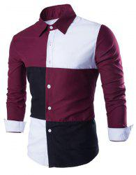 Fashion Shirt Collar Color Block Stitching Slimming Long Sleeve Cotton Blend Shirt For Men -