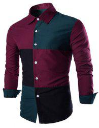 Fashion Shirt Collar Color Block Stitching Slimming Long Sleeve Cotton Blend Shirt For Men