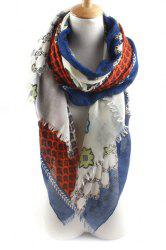 Chic Flowers Rhombus Pattern Fringed Scarf For Women -