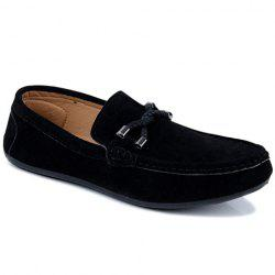 Concise Style Suede and Flat Design Men's Loafers - BLACK