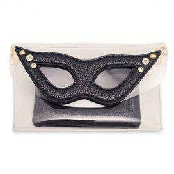 Fashion Style Chain and Glasses Pattern Design Women's Clutch - BLACK