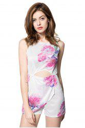 Sexy V-Neck Sleeveless Floral Print Hollow Out Women's Romper - WHITE