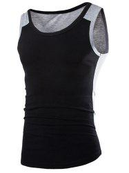 Fashion Round Neck Slimming Color Block Splicing Sleeveless Polyester Tank Top For Men - BLACK