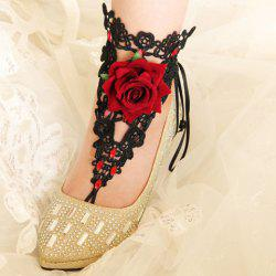 Delicate Lace Rhinestone Flower Anklet - BLACK