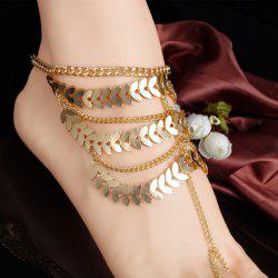 Stylish Leaf Tassel Layered Anklet - GOLDEN
