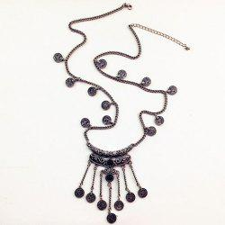 Retro Fringed Coin Shape Necklace - SILVER GRAY