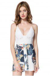 Sexy Spaghetti Strap Backless Printed Women's Romper - WHITE