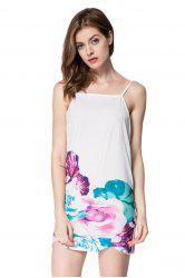 Spaghetti Strap Backless Floral Summer Dress - WHITE
