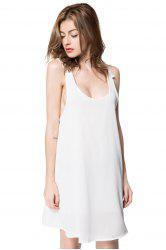 Sexy V-Neck Sleeveless Backless Laciness Women's Dress - WHITE