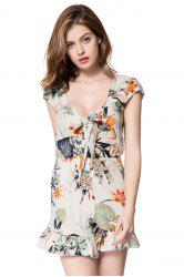 Plunging Neckline Flounced Floral Romper - OFF-WHITE