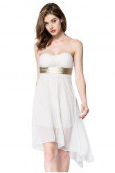 Strapless High Low Cocktail Night Out Chiffon Dress - WHITE