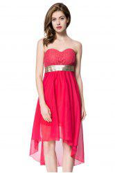 Strapless High Low Cocktail Night Out Chiffon Dress - RED