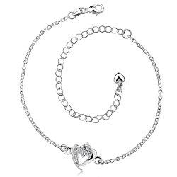 Rhinestone Hollow Out Heart Anklet -