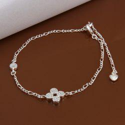 Fresh Style Floral Rhinestone Embellished Solid Color Hollow Out Women's Anklet -