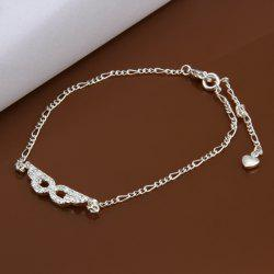 Trendy Eyepatch Hollow Out Solid Color Anklet - WHITE