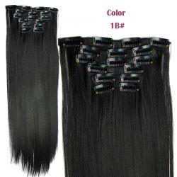 Long Straight Clip-In Heat Resistant Synthetic Hair Extension Suit For Women - 1B#