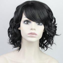 Stylish Fluffy Side Bang Ladylike Charming Medium Curly Synthetic Capless Wig For Women - BLACK
