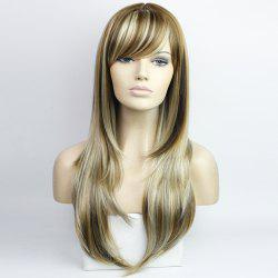 Western Style Side Bang Layered Long Wavy Mixed Color Synthetic Hair Women's Capless Wig