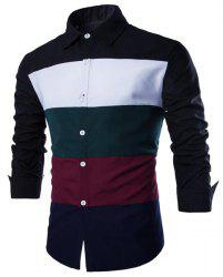 Trendy Shirt Collar Multicolor Splicing Slimming Long Sleeve Cotton Blend Shirt For Men -