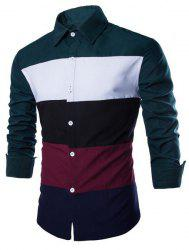 Trendy Shirt Collar Multicolor Splicing Slimming Long Sleeve Cotton Blend Shirt For Men