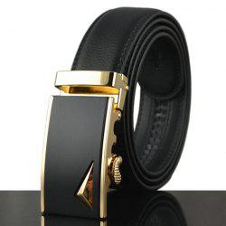 Stylish Stereo Triangle Alloy Embellished Faux Leather Belt For Men - BLACK