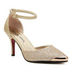 Trendy Stiletto and Metallic Toe Design Women's Pumps -