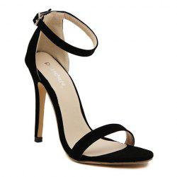 Suede Ankle Strap Stiletto High Heel Sandals - BLACK