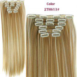 Long Straight Clip-In Heat Resistant Synthetic Hair Extension Suit For Women - H