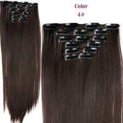 Long Straight Clip-In Heat Resistant Synthetic Hair Extension Suit For Women - 04#