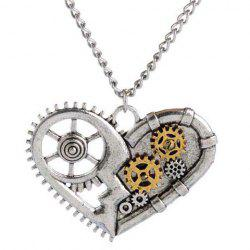 Punk Heart Pendant Necklace For Men - SILVER GRAY