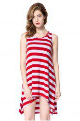 Striped Casual Summer Tank Dress - RED
