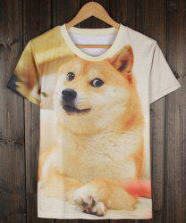 Fashion Round Neck Slimming 3D Dog Pattern Short Sleeve Polyester T-Shirt For Men -