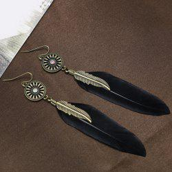 Leaf Feather Shape Earrings - BLACK