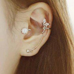 ONE PIECE Characteristic Rhinestone Embellished Angle's Wing Shape Ear Cuff For Women - SILVER